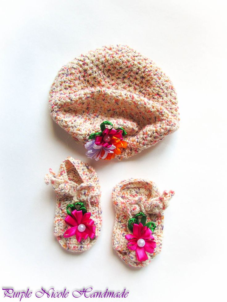 Princess - Handmade Crochet Children Set: beautiful little hat & bootees - sandals by Purple Nicole (Nicole Cea Mov). Materials: soft pink color mix, decorated with satin ribbon flowers