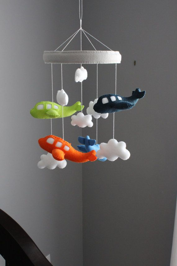 Airplane Mobile  Baby Crib Mobile Blue Orange by LoveAllDesigns