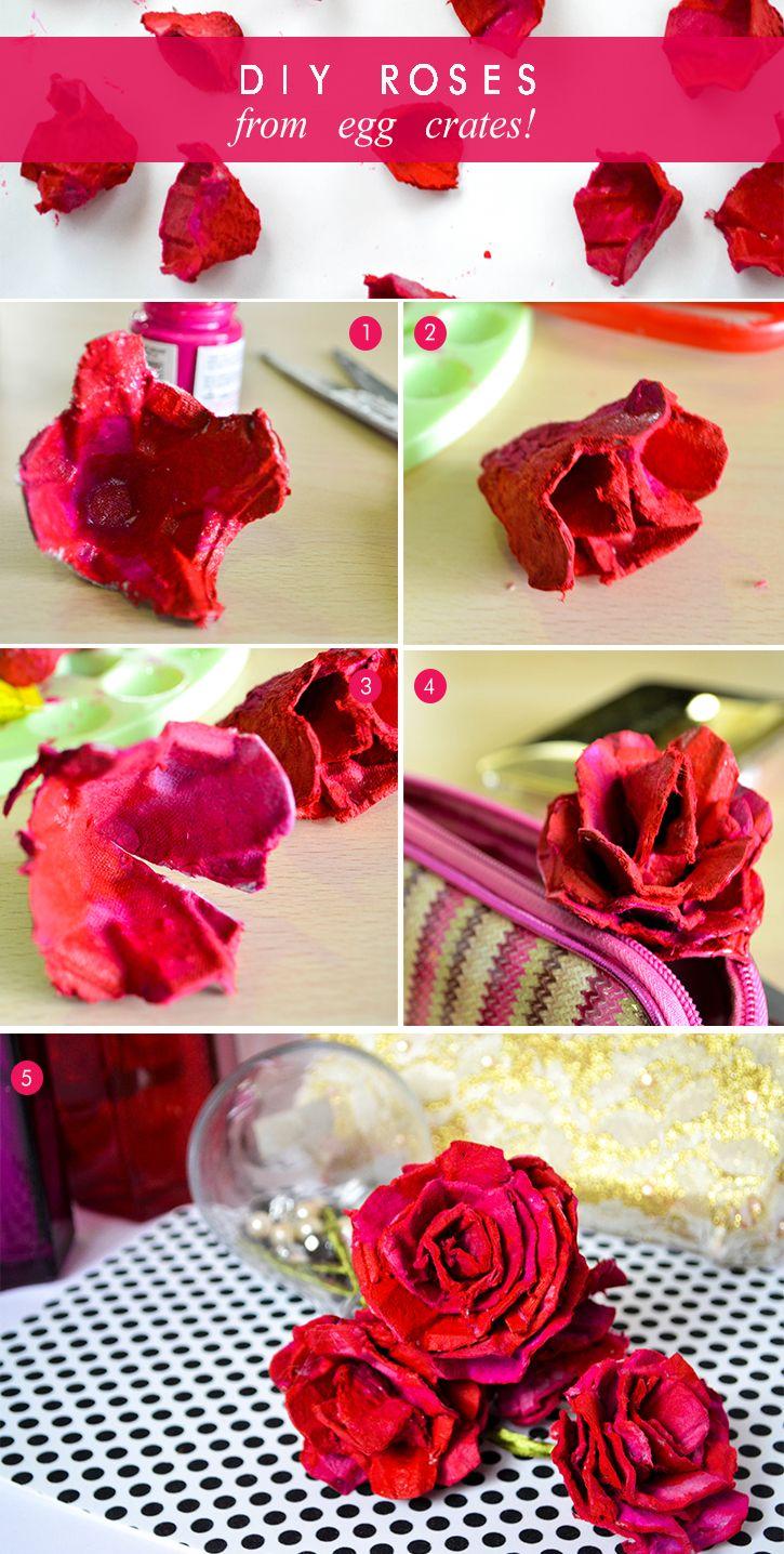 DIY Roses from Egg Crates #diy #roses #inspiration #tutorial