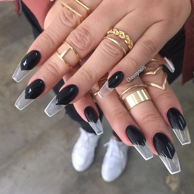 Glass Nails Black White Outline Coffin Nail Art Nail Art In 2019 Nails Clear Acrylic