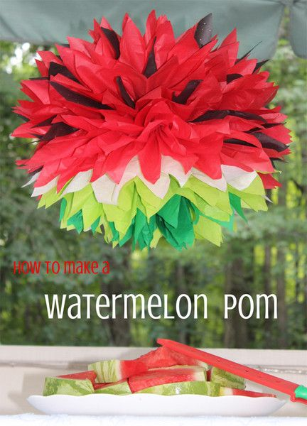 How to Make A Watermelon Tissue Paper Pom | Easy DIY by pomadore.com