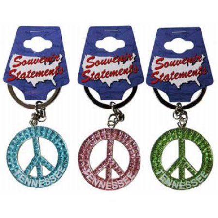 Jenkins Tennessee Keychain- Glitter Peace Symbol (pack Of 60)