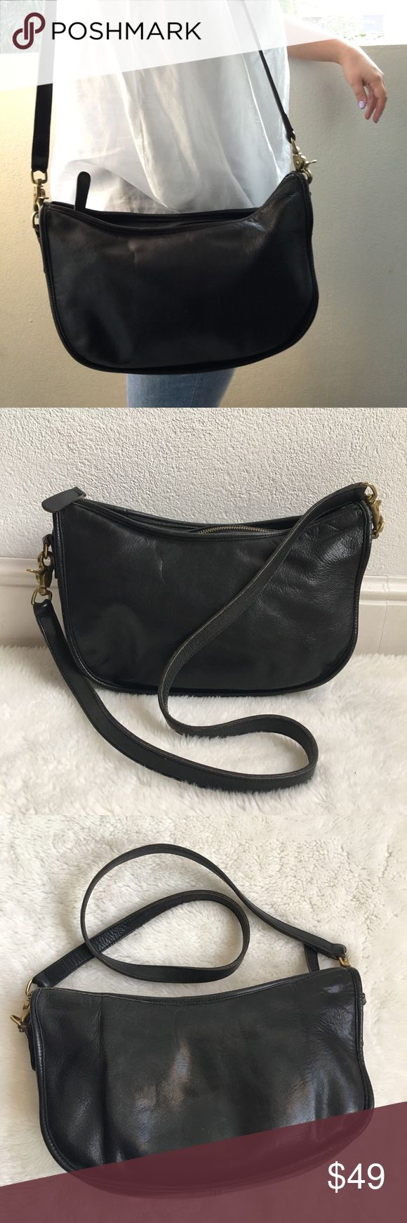 "Vintage Coach Legacy Black Leather Shoulder Bag Pre-owned authentic Vintage Coach Legacy Black Leather Shoulder Bag. It measures 11.5x7"" inches. Strap is 38"" inches long. Made in USA. No. 0788-157. Bag has signs of wear and patina throughout due to its age. Please look at pictures for better reference. Happy Shopping! Coach Bags Shoulder Bags"