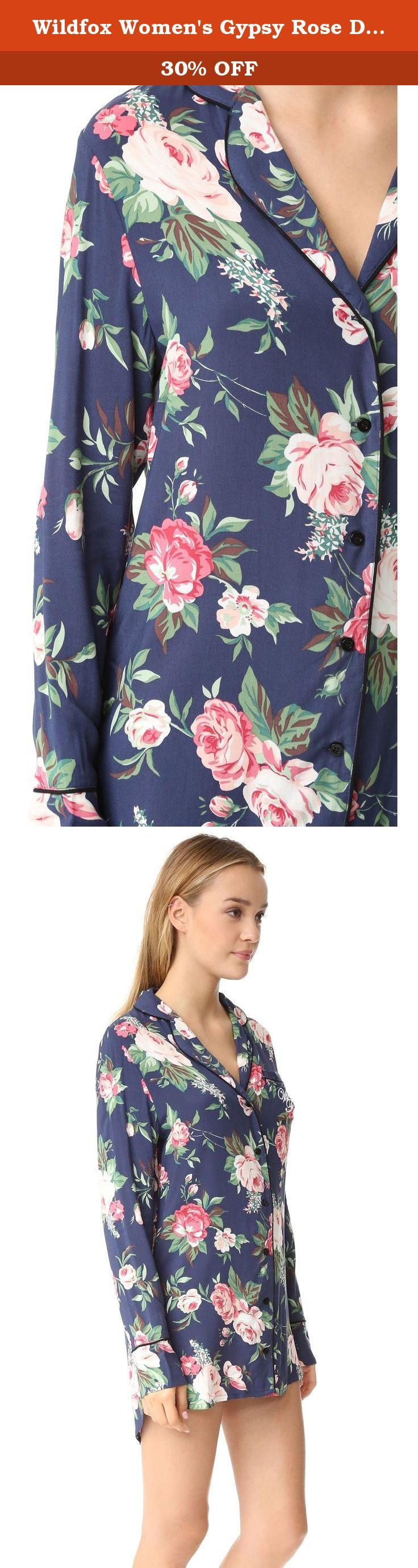 Wildfox Women's Gypsy Rose Dreamer Sleepshirt, Gypsy Rose, X-Small. A lightweight, floral Wildfox pajama shirt trimmed with contrast piping, a notched collar and buttoned placket for a vintage-inspired look. Long-sleeves.