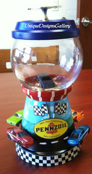 Nascar, Race Car, Hot Wheels, Race Track, Chevy, Candy Jar, Bank, Cookie Jar, Decorative Decanter, Gumball Machine, Terrarium, Fish Bowl