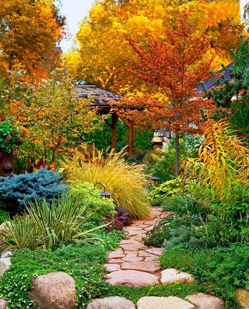 Perfect Save Money slideshow of garden paths but omg isn ut this the most beautiful fall garden
