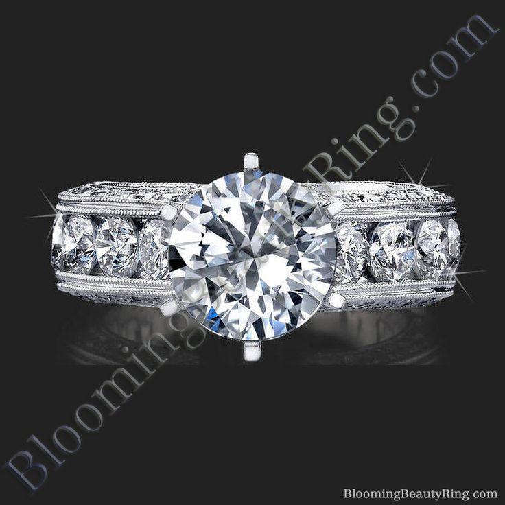 2.10 Carat Round Diamond Engraved Engagement Ring with Quarter Carat Channel Set Diamonds