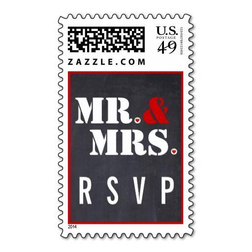 Mr. and Mrs. typography black red wedding RSVP Postage Stamp  #mrandmrs, #typography, #RSVP, #postagestamp, #wedding