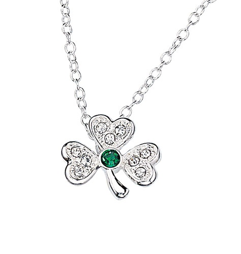 """Rhinestone Shamrock Necklace  526-038     Be the first to write a review  Reg. $9.99    Description  Faux-emerald with rhinestones set in silvertone. 16 1/2"""" L with 3 1/2"""" extender.     GOOD TO KNOW   All of Avon's jewelry is nickel-free for those with sensitive skin & allergies to nickel."""
