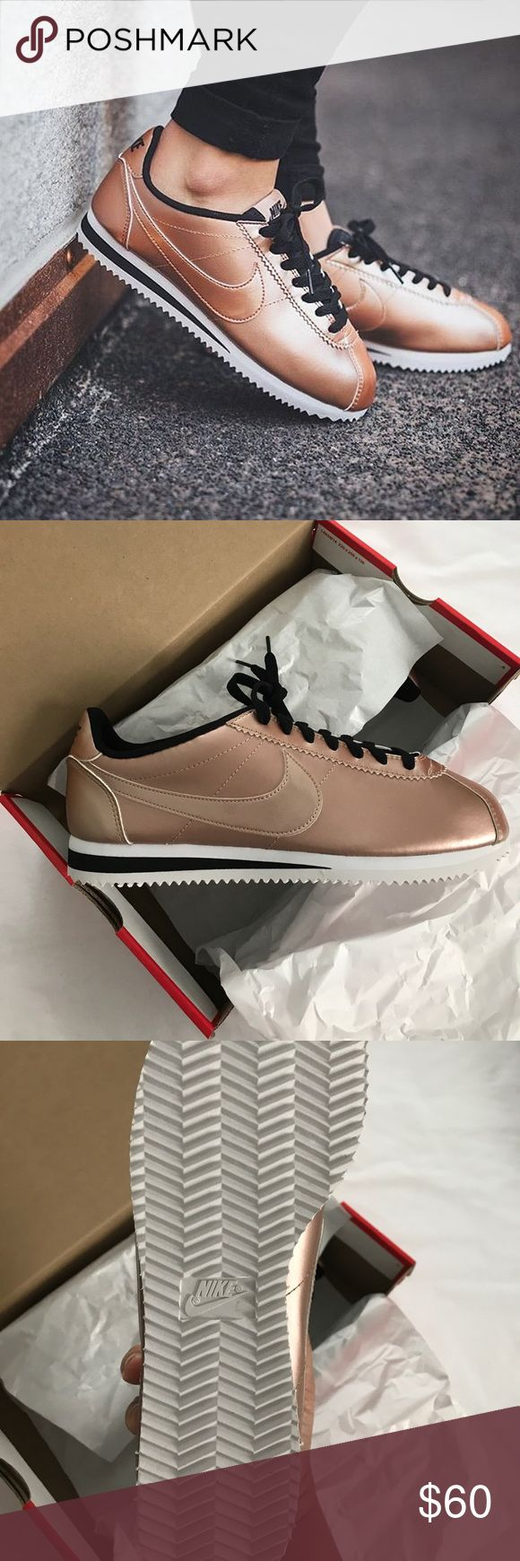 Nike Cortez Rose gold Nike Cortez never worn. Size is 10.5, box included. Nike Shoes Sneakers