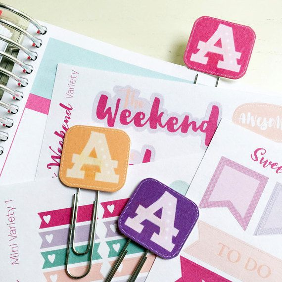 Letter Monogram Planner Clips | Personalized Planner Clips | Single Letter | Available in 4 Colors | Planner Clip | Paper Clips for Planners