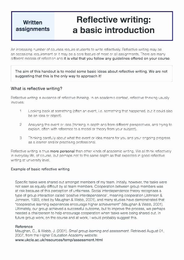 Personal Reflective Essay Example Lovely Reflection Administrativela Academic Writing Self A