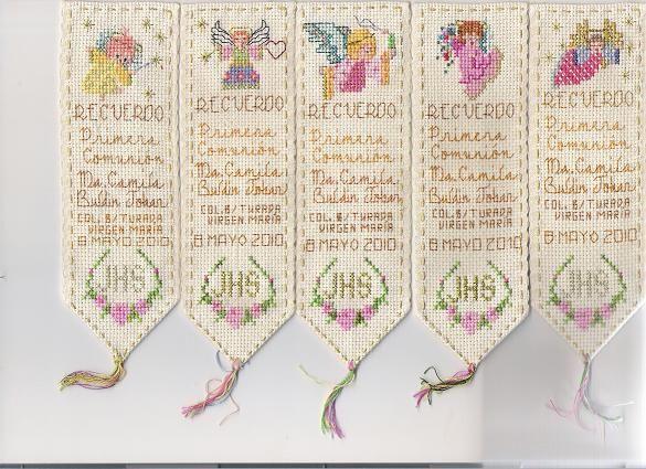 Separadores de libros como recordatorio de Primera Comunión bordados en punto de cruz