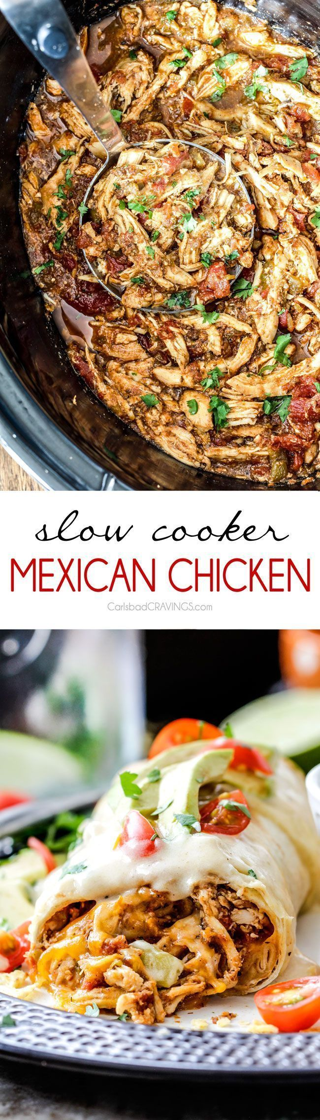 Easy Slow Cooker Shredded Mexican Chicken simmered with Mexican spices, salsa and green chilies for the BEST Mexican chicken perfect for tacos, burritos, tostadas, salads, etc. Couldn't be any easier!
