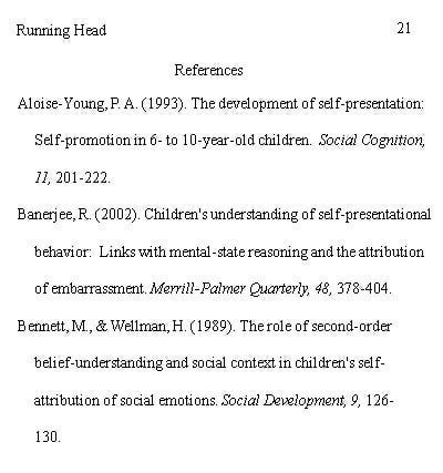 Example of a reference page in APA format.