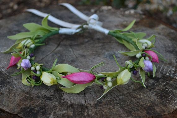 Pink/ Purple / Green Flower Crown / Flower Halo / by Floraclectic