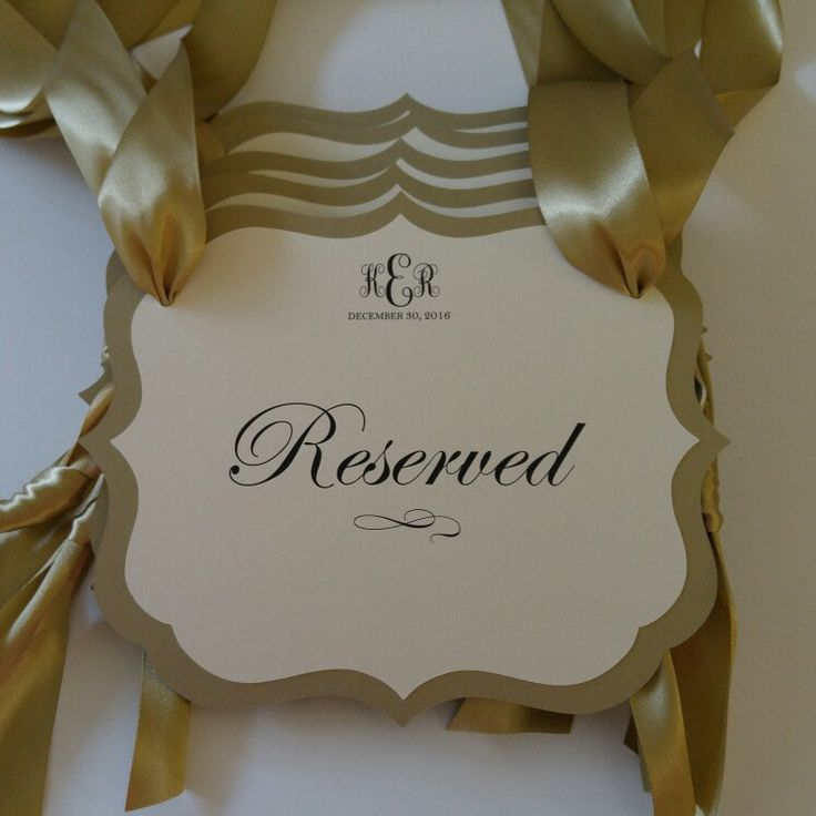 Gorgeous reserved weding pew signs just shipped this morning for a Christmas bride. Colors are gold leaf and cream.