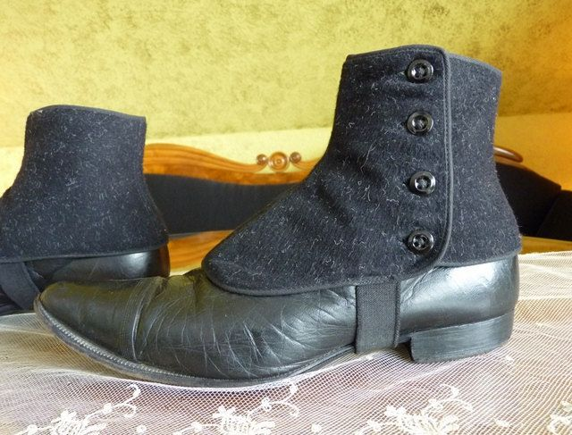 Mens Lace up Boots with Spats Germany Antique Shoes