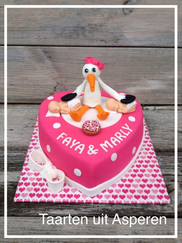 Een geboorte taart voor een tweeling!