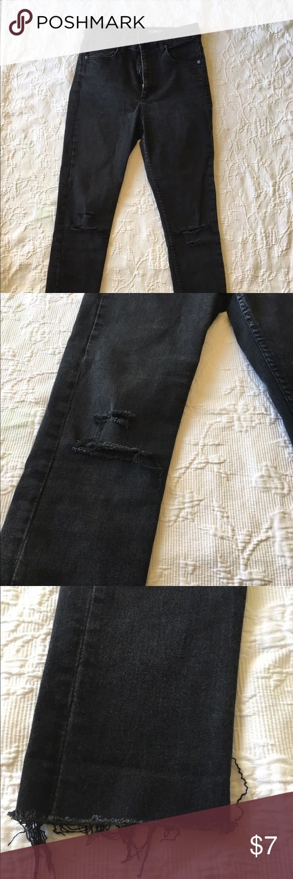 H&M Black High-Waisted Skinny Jeans Very high-waisted, nicely worn black skinnies with torn knees. Cut at bottom. Good denim, not super thin but also has stretch. H&M Jeans Skinny