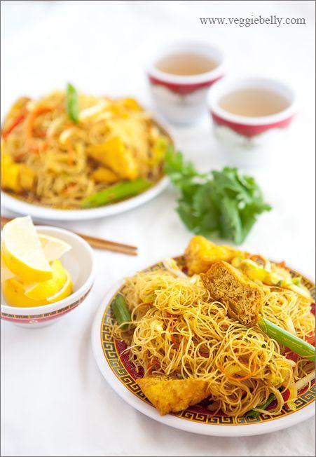 Vegan Singapore Rice Noodles from the Veggie Belly blog #vegan