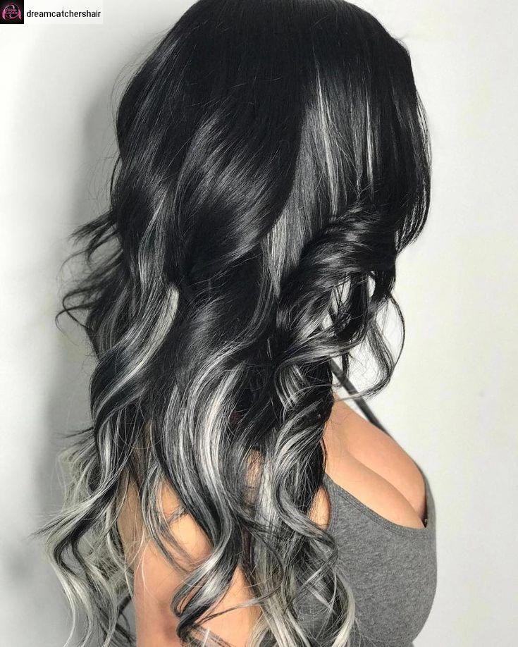 Gray Hair With Black Highlights Dark Hair With Highlights Grey Hair Color Hair Highlights