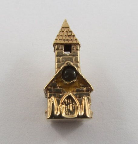 Chapel With Looking Glass 9K Gold Vintage Charm For Bracelet by SilverHillz on Etsy https://www.etsy.com/listing/245559824/chapel-with-looking-glass-9k-gold