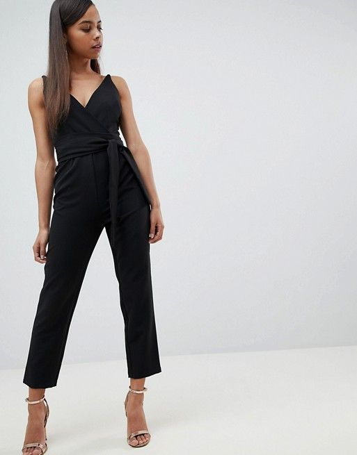 791ce2dcf68 DESIGN Petite wrap front jumpsuit with peg leg and self belt