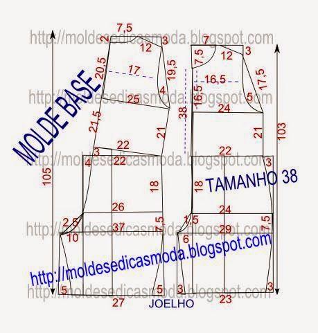 Moldes Moda por Medida: MOLDE BASE DE MACACÃO TAMANHO 38