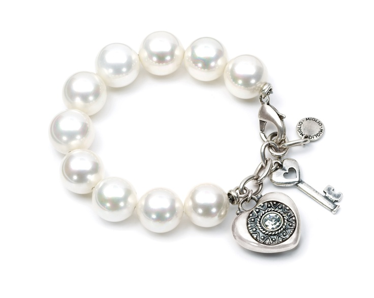 Pearl bracelet with heart & key charms combine with extender as necklace from Miglio