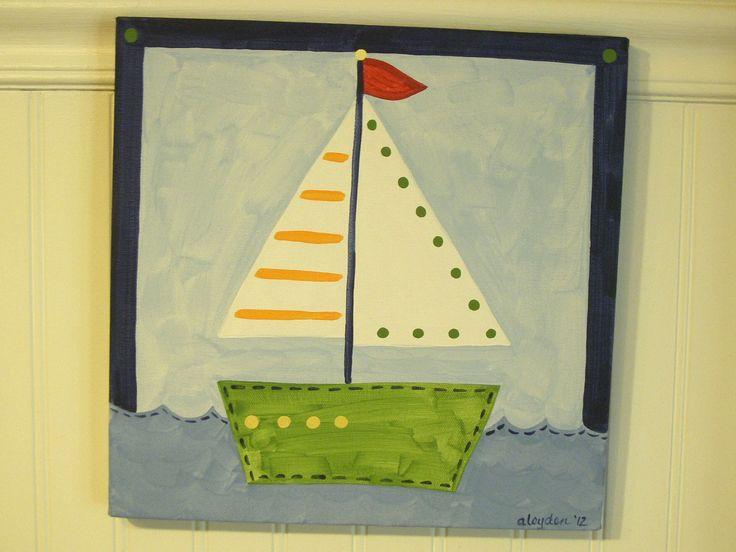 child boat drawings | Baby nursery decor Children wall art Nursery art paintings Kids boys ...