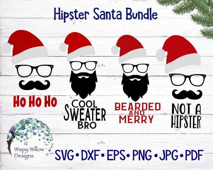 Download Hipster Santa Claus, Christmas SVG Bundle, Ho Ho Ho, SVG ...