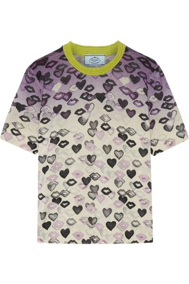 Prada - Printed Wool And Cashmere-blend Sweater - Lilac - IT40