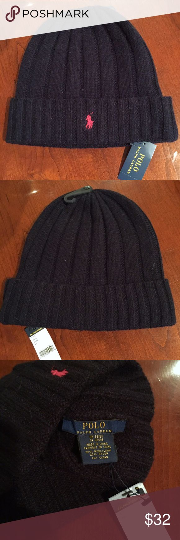 NWT - Men's POLO Beanie (Navy) NWT - Authentic Ralph Lauren POLO Beanie - Navy Blue with Red Polo emblem - 80% Wool, 20% Nylon *Price is Firm* Polo by Ralph Lauren Accessories Hats