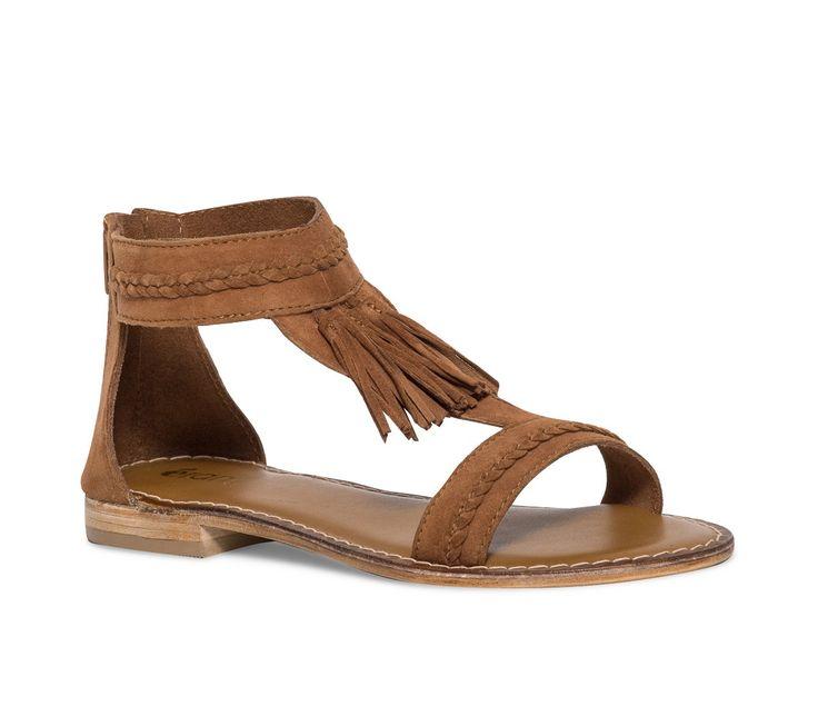 Sandale pompons croûte de cuir camel - Sandales plates - Chaussures femme