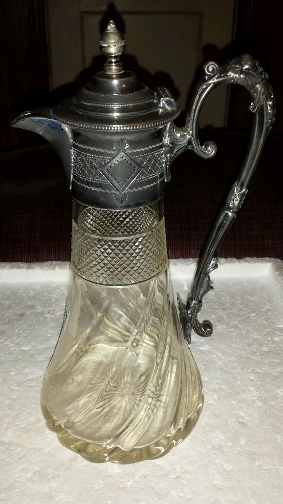 ANTIQUE VICTORIAN SILVERPLATE AND CRYSTAL FANCY WINE CARAFE #unknownbutverypossiblyEnglish