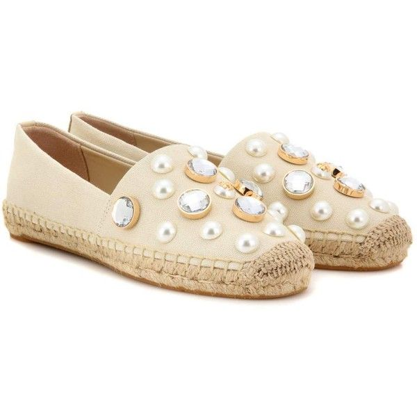 Tory Burch Vail Embellished Espadrilles ($260) ❤ liked on Polyvore featuring shoes, sandals, beige, decorating shoes, tory burch espadrilles, beige shoes, tory burch footwear and espadrilles shoes