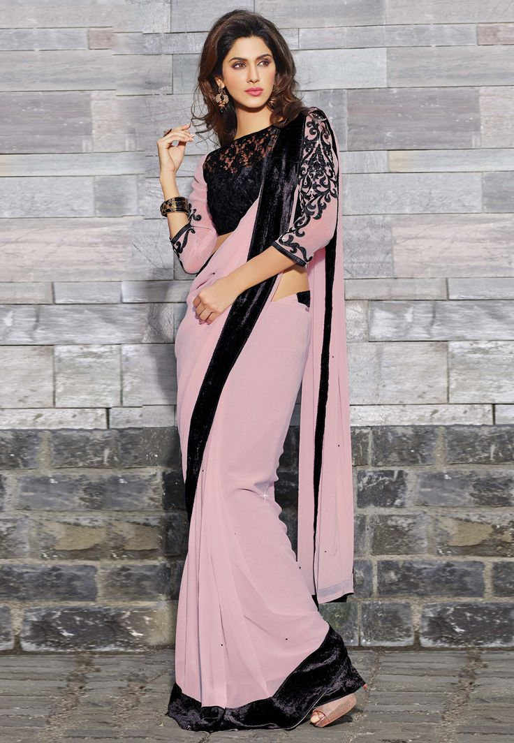 Georgette Sarees Dusty Pink And Saree On Pinterest