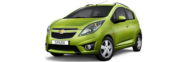 Group A - Spark Chevrolet, 1000cc, manual, 4 seats, 5 doors, A/C, radio, CD player. Economy car rental in Paros