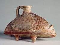 Rhyton en forme de hérisson XIVe - XIIIe siècles avant J.-C. Ras Shamra-Ougarit, tombe 4 Imitation de céramique mycénienne musée du Louvre