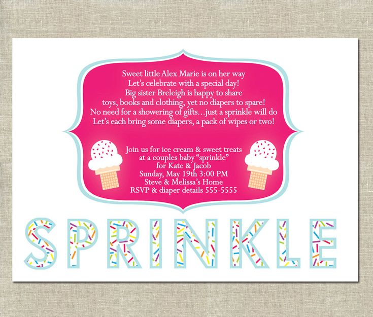 Baby Sprinkle Invitation PRINTABLE - Ice Cream Party - Diaper Shower - Couples Baby Sprinkle. $12.00, via Etsy.