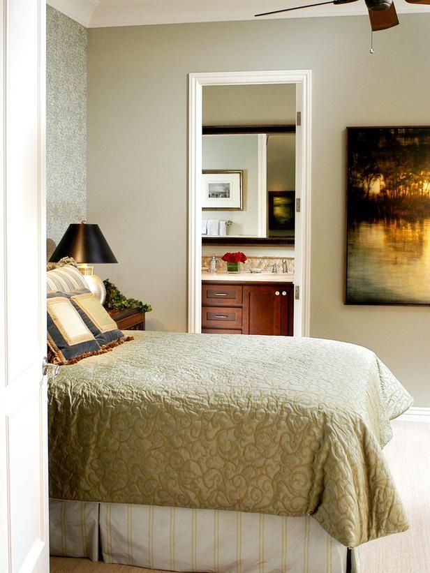 Bedroom with Cherry Poster Bed & Gold Stripped Bedding : Designers' Portfolio : HGTV - Home & Garden Television