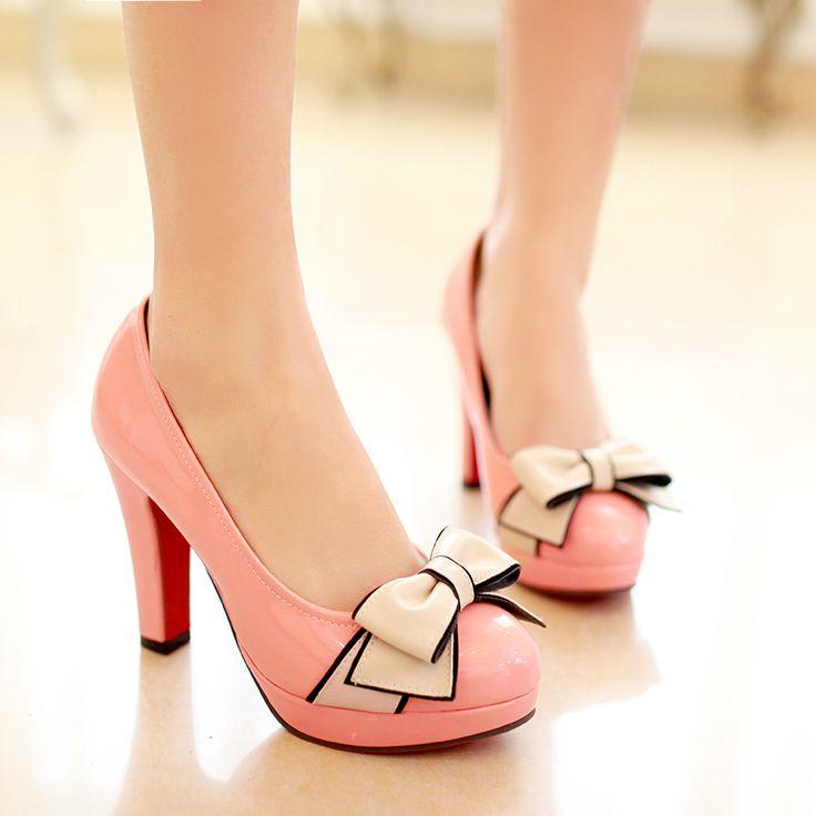 Обувь женщина на высоких каблуках chaussure femme женская обувь на высоких каблуках 2016 дамы насосы платформы обувь Мода Лук-узел Плюс размер