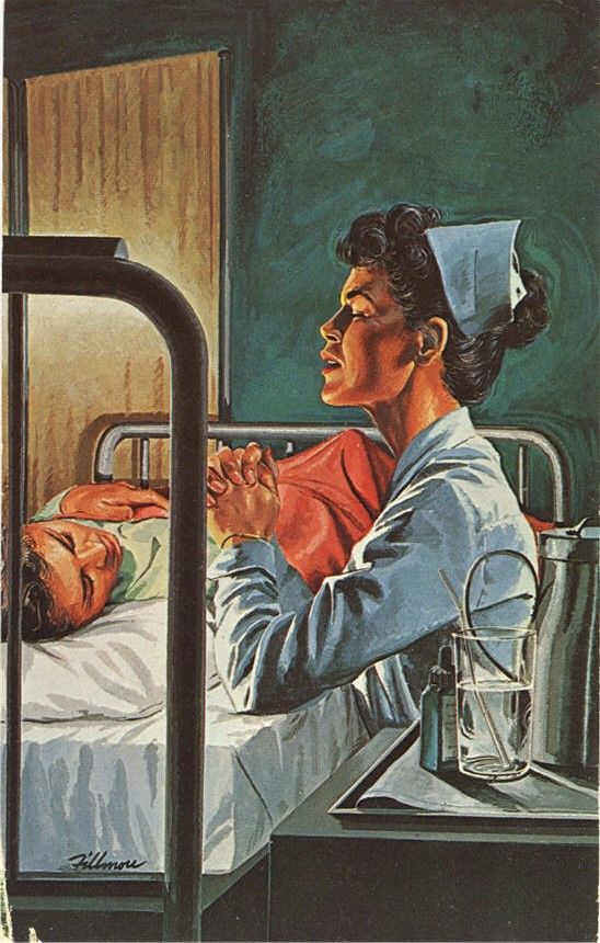 An advertisement for a hospital features an illustration of a nurse in prayer at a patient's bedside, 1950s.