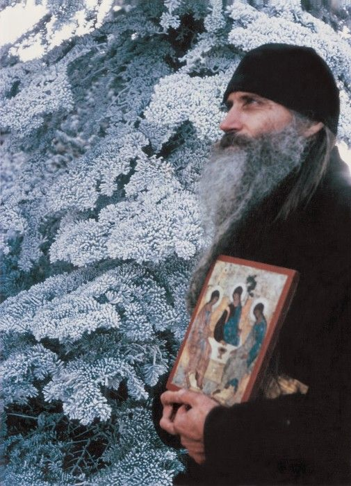 Father Seraphim Rose holding an icon of the Holy Trinity #orthodoxy #holy #trinity