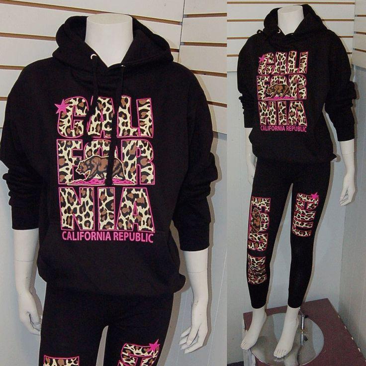 Cute Leopard California Republic Cali Pink Cheetah Pullover Sweater Hoodie,Sz M #pulloversweater