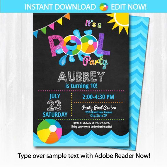 Pool Party Invitation Template! Backside design included. EDIT at home Now and save $$!! Please read through the entire description before