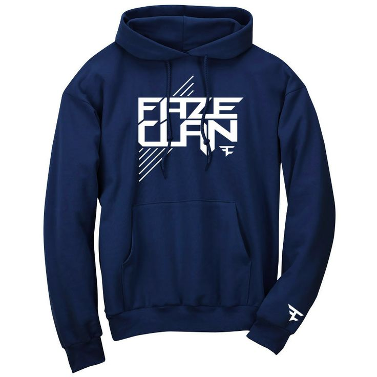 FaZe Clan Logo Hoodie - White on Navy : size Large I support my favorite clan ever!