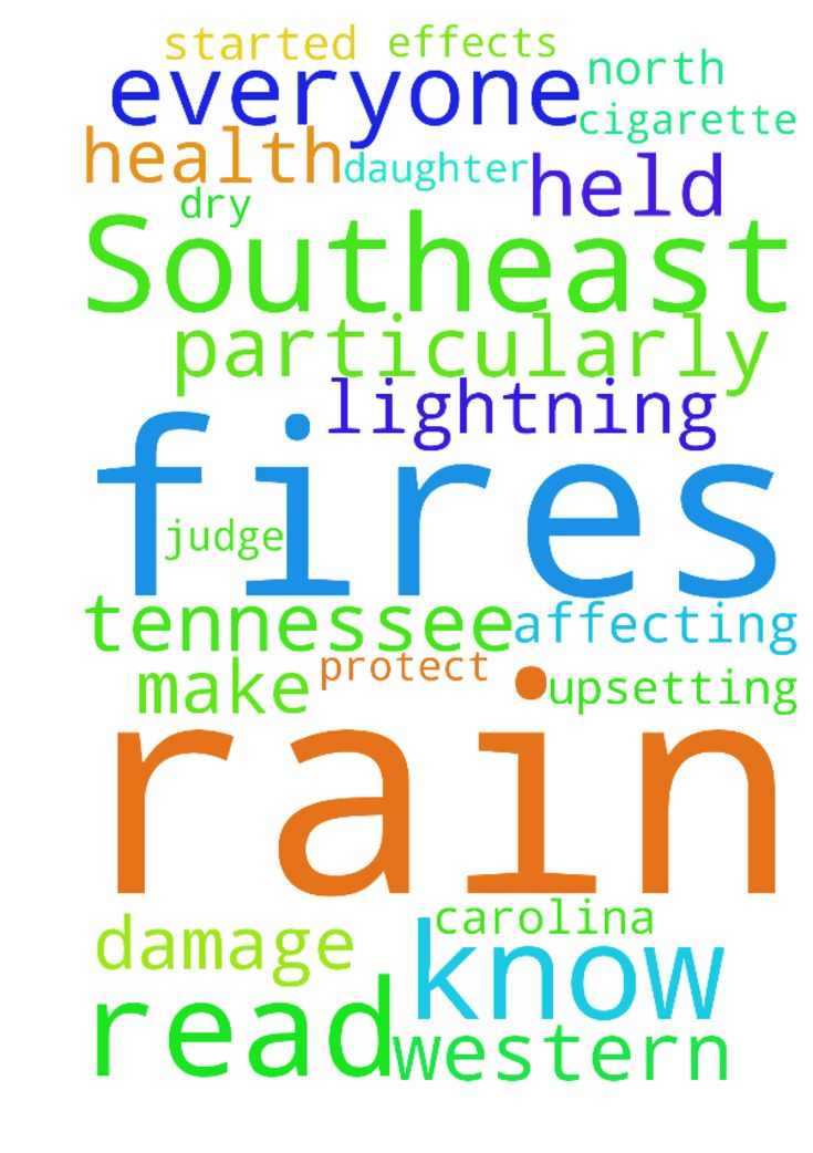 Rain in Southeast -  Jesus please let it rain in the Southeast. Particularly Western North Carolina and Tennessee. Please protect my daughter and dont let there be any longterm health effects from the smoke and fires down there. Please make those that started these fires be held accountable for all this damage and how they are affecting everyone down there. I read that it was lightning and the dry weather then I have read that it was a cigarette, so I dont know what to think. I know only you…