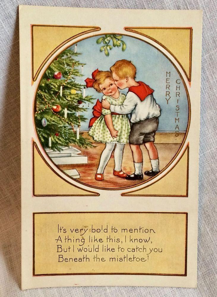Christmas Postcard Boy Kissing Girl Under Mistletoe Unposted Vintage #Christmas